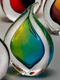 Remi Teardrop Green Lightblue Glass Paperweight