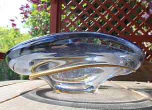 Swirl lead crystal glass bowl