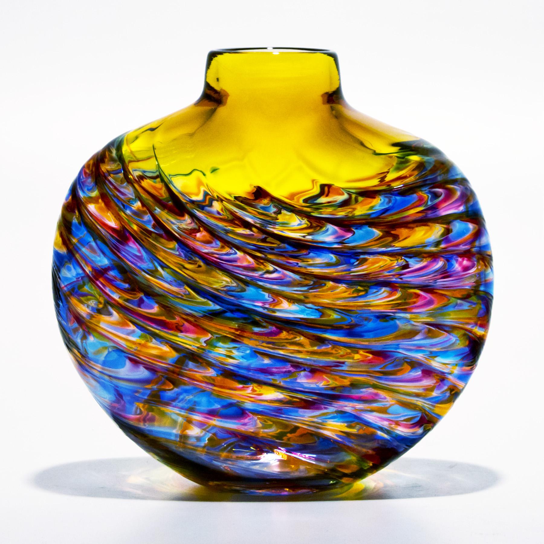 yellow glass vase aztec by michael trimpol boha glass