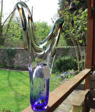 Glass Blue Ornament by Adam Jablonski