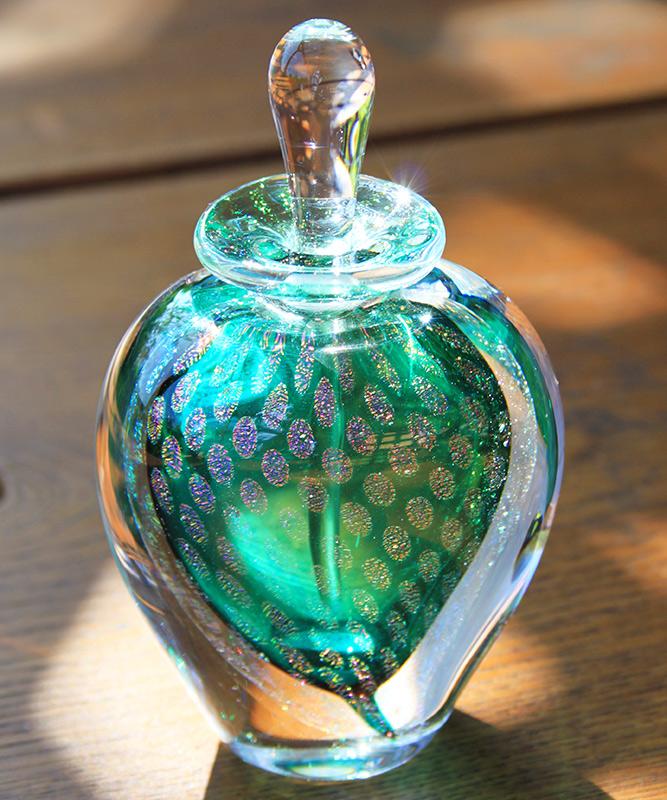 Green Perfume Bottle Peacock By David New Small Boha