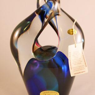 Blue pirouette glass ornaments