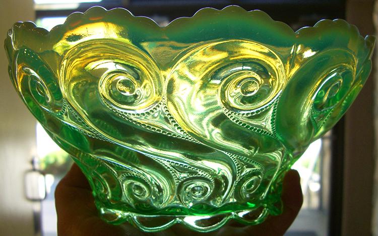 Vaseline Uranium Coloured Glass Vase Boha Glass
