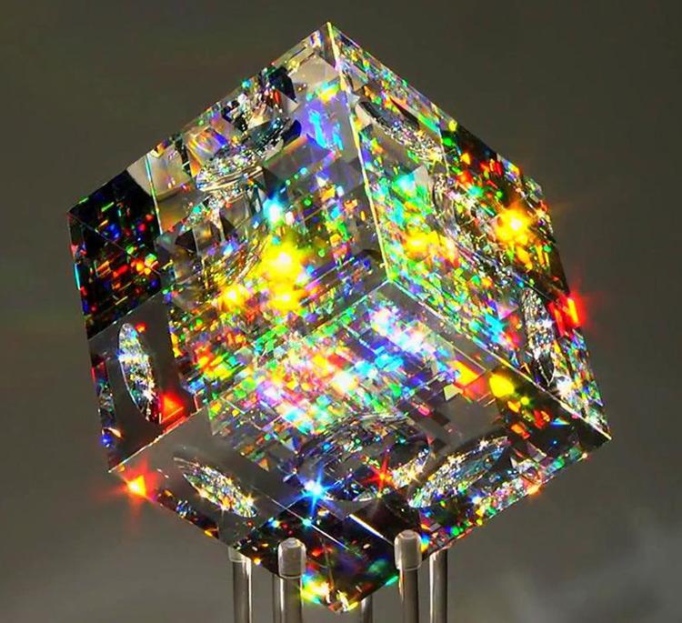 cube glass sculpture