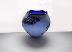 blue glass bowl white and cobalt inner