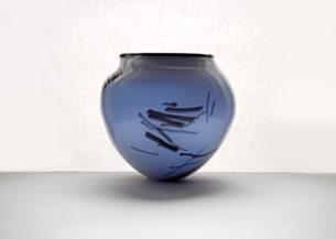 blue glass bowl and cobalt inner