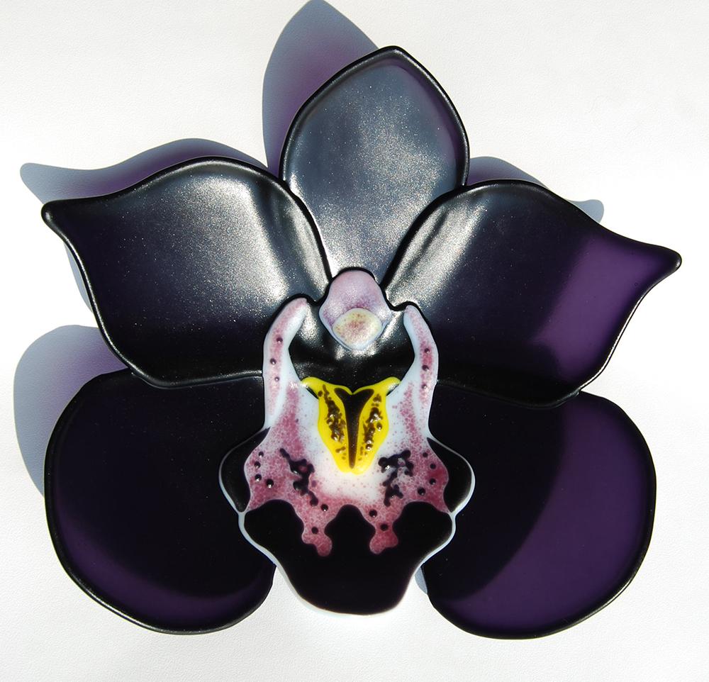 Glass Flowers Cymbidium Kiwi Baron Black Orchids By Laura Hart