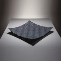 wave opqaue black white glass platter