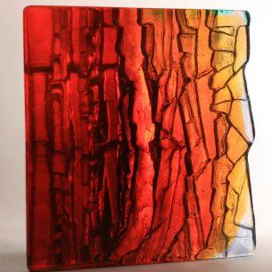 Modern Glass Sculpture 'Amber Cliffs'