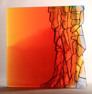 Glass Sculpture Art Golden Cliffs Square