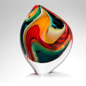blown glass art sculpture asymmetrical black paradiso large sailform