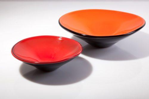 Coloured Glass Plate Red Orange