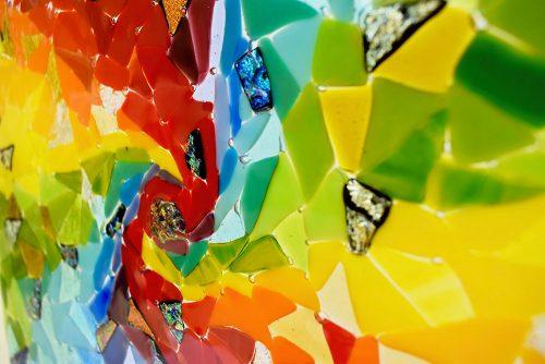 Abstract Art Glass Rainbow Swirl