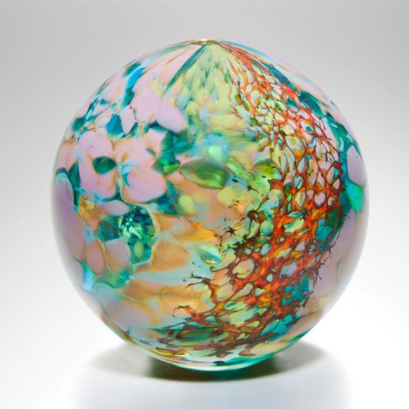 Hand Blown Glass Sphere Reef Medium By Peter Layton