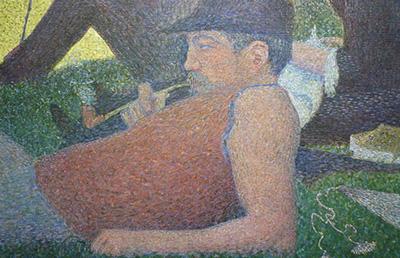 Seurat art close up man reclining