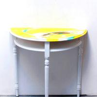 Hand Painted Half Moon Table