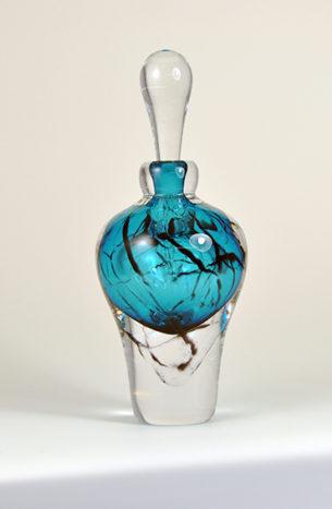 Vintage Glass Perfume Bottle Teal Blue Craquele