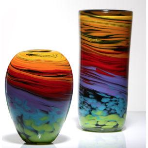 Artistic Vases 'Black Rainbow Spiral Vases' by Nicola Steel