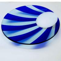 Blue Glass Platter 'Moonrise' by Laura Hart