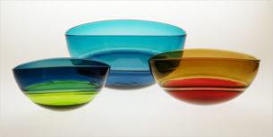 Green Glass Bowls 'Lime Grey Oval Encalmo' by Stewart Hearn