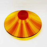 Round Glass Platter 'Sunrise' by Laura Hart