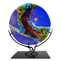 Round Blue Glass Sculpture