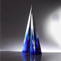 Blue Cast Glass Sculpture