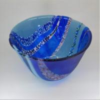 Blue Glass Art Bowls