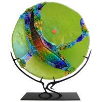 Round Green Glass Sculpture